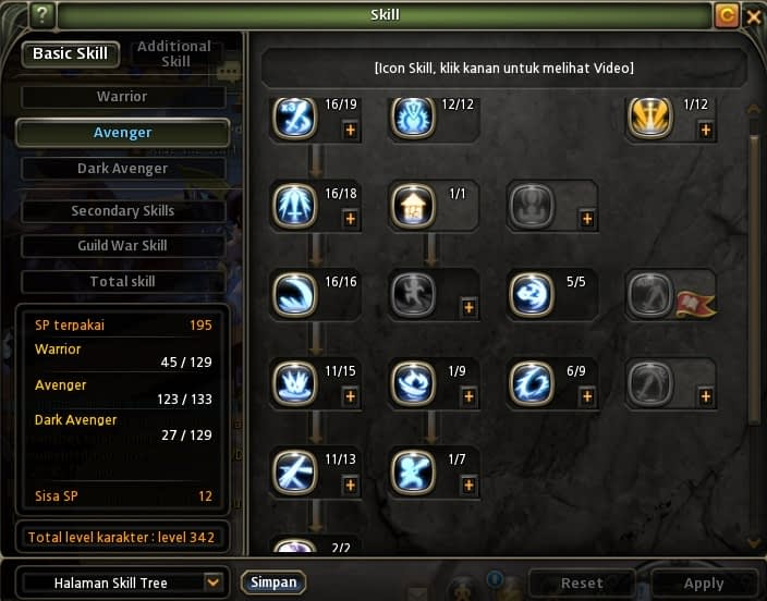 Avenger Skill build Dragon nest indonesia