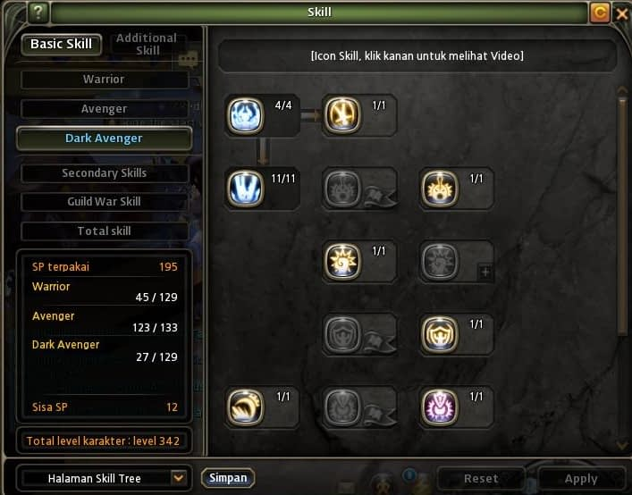 Dark Avenger Skill build Dragon nest indonesia